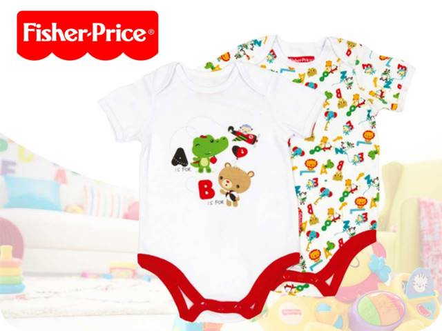 SET 2 BODY MANICA CORTA IN COTONE FISHER PRICE 0/24M