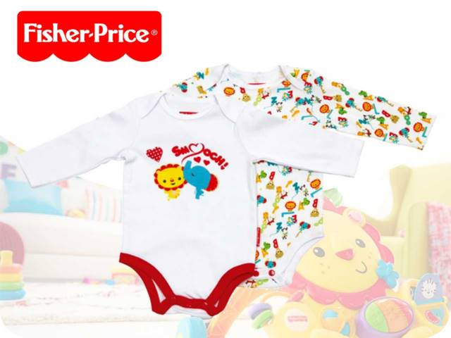 SET 2 BODY MANICA LUNGA IN COTONE FISHER PRICE 0/24M