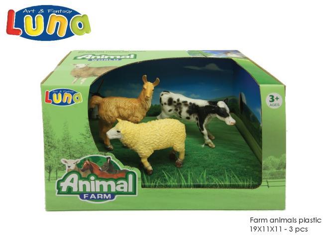 ANIMALI DELLA FATTORIA IN PLASTICA 19X11X11CM 3PCS LUNA