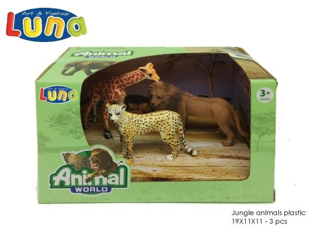 ANIMALI DELLA GIUNGLA IN PLASTICA 19X11X11CM 3PCS LUNA