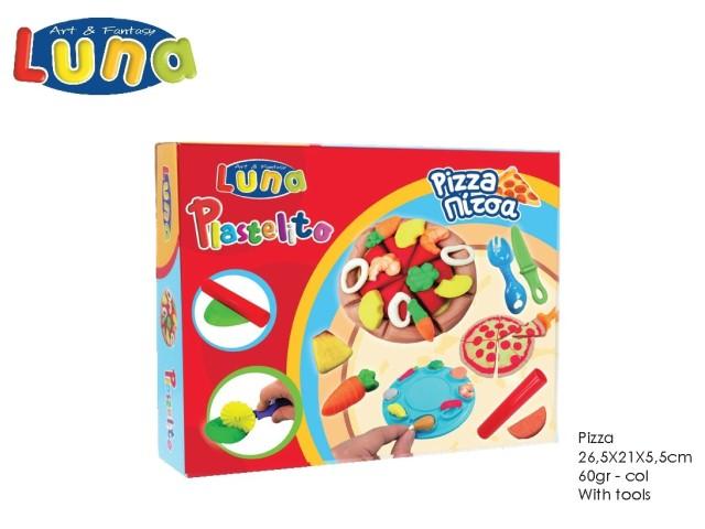 PLASTILINA 60GR CREA IL LA TUA PIZZA CON ACCESSORI E MODULI 4 COLORI