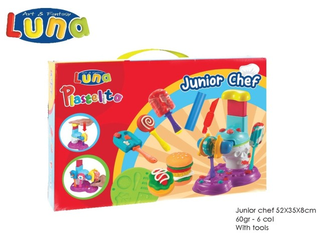 JUNIOR CHEF CON PLASTICA MODELLABILE E ACCESSORI 60gr ? 6 COLORI LUNA