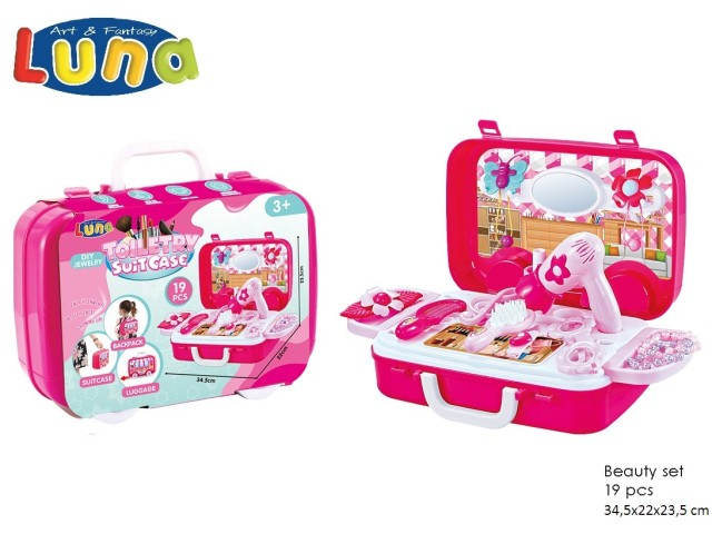 SET BEAUTY CASE 22,5X8X24,5CM 19PCS LUNA