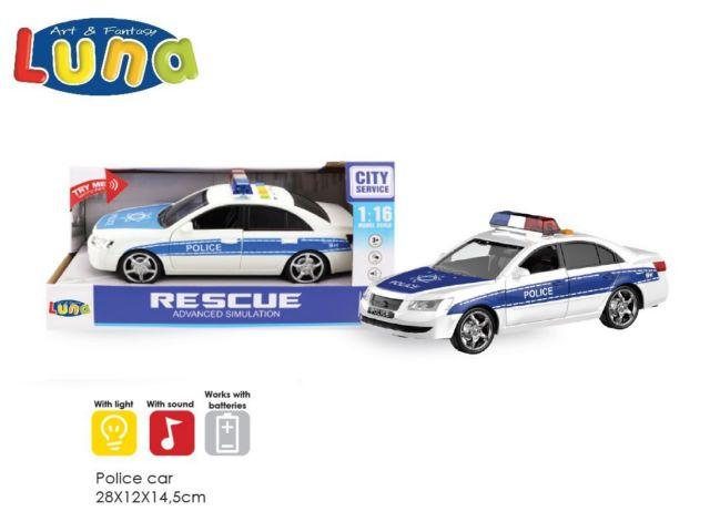 AUTO POLIZIA CON SUONI E LUCI 28X12X14,5
