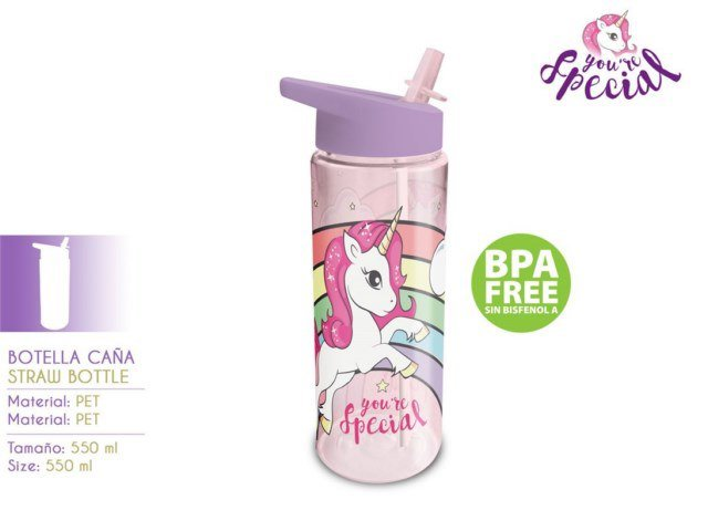 BORRACCIA CON CANNUCCIA 550ML UNICORNO PH