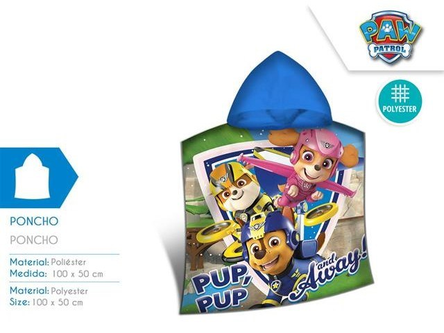 PONCHO MARE MICROTERRY 100X50 CM PAW PATROL