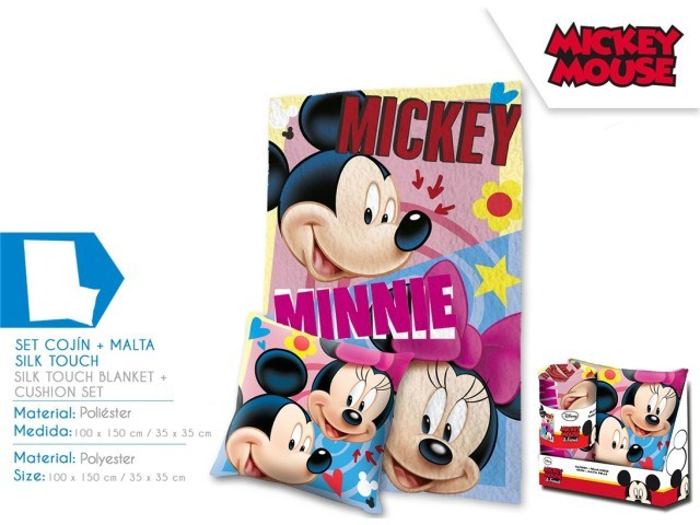 SET CUSCINO 35X35 + COPERTA IN PILE EN DISPLAY MICKEY AND MINNIE