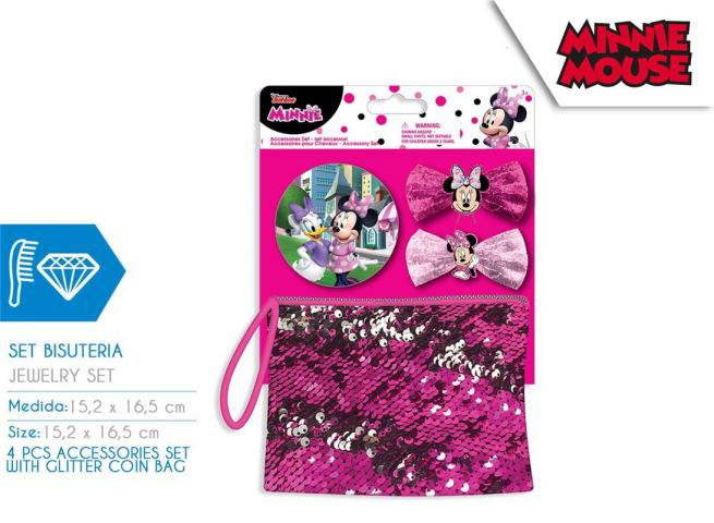 SET ACCESSORI CAPELLI + BORSA GLITTER 15X16,5 CM  MINNIE