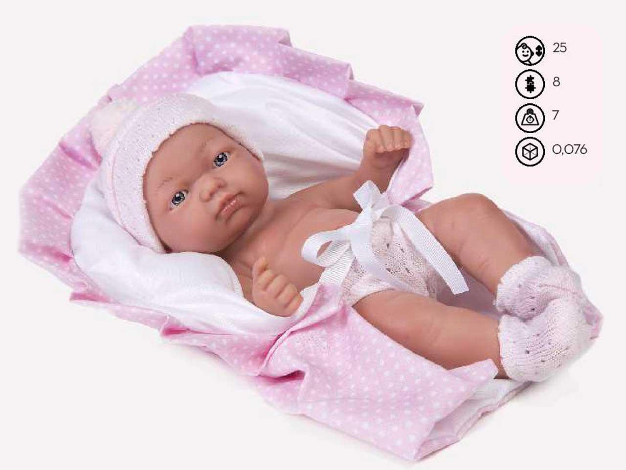 BAMBOLA CON PORT ENFANT ROSA 25 CM SCATOLA SINGOLA