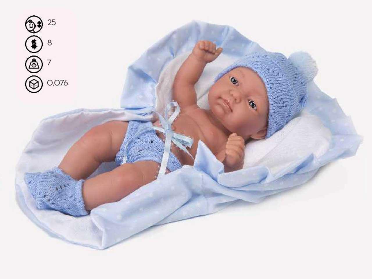 BAMBOLOTTO CON PORT ENFANT AZZURRA 25 CM SCATOLA SIN.