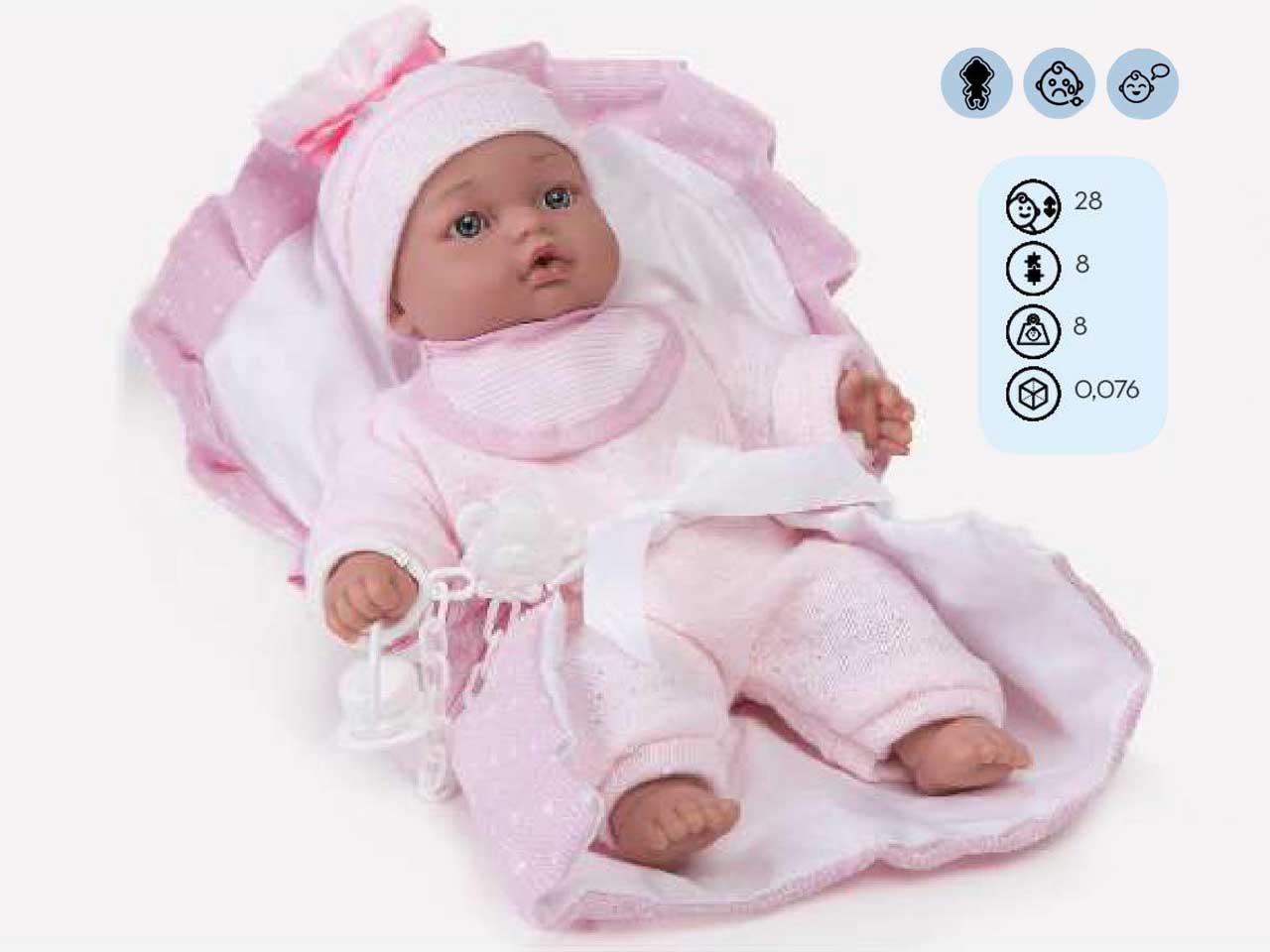 BAMBOLA MORBIDA CON PORT ENFANT ROSA 28 CM CON VOCE SC.SINGOLA