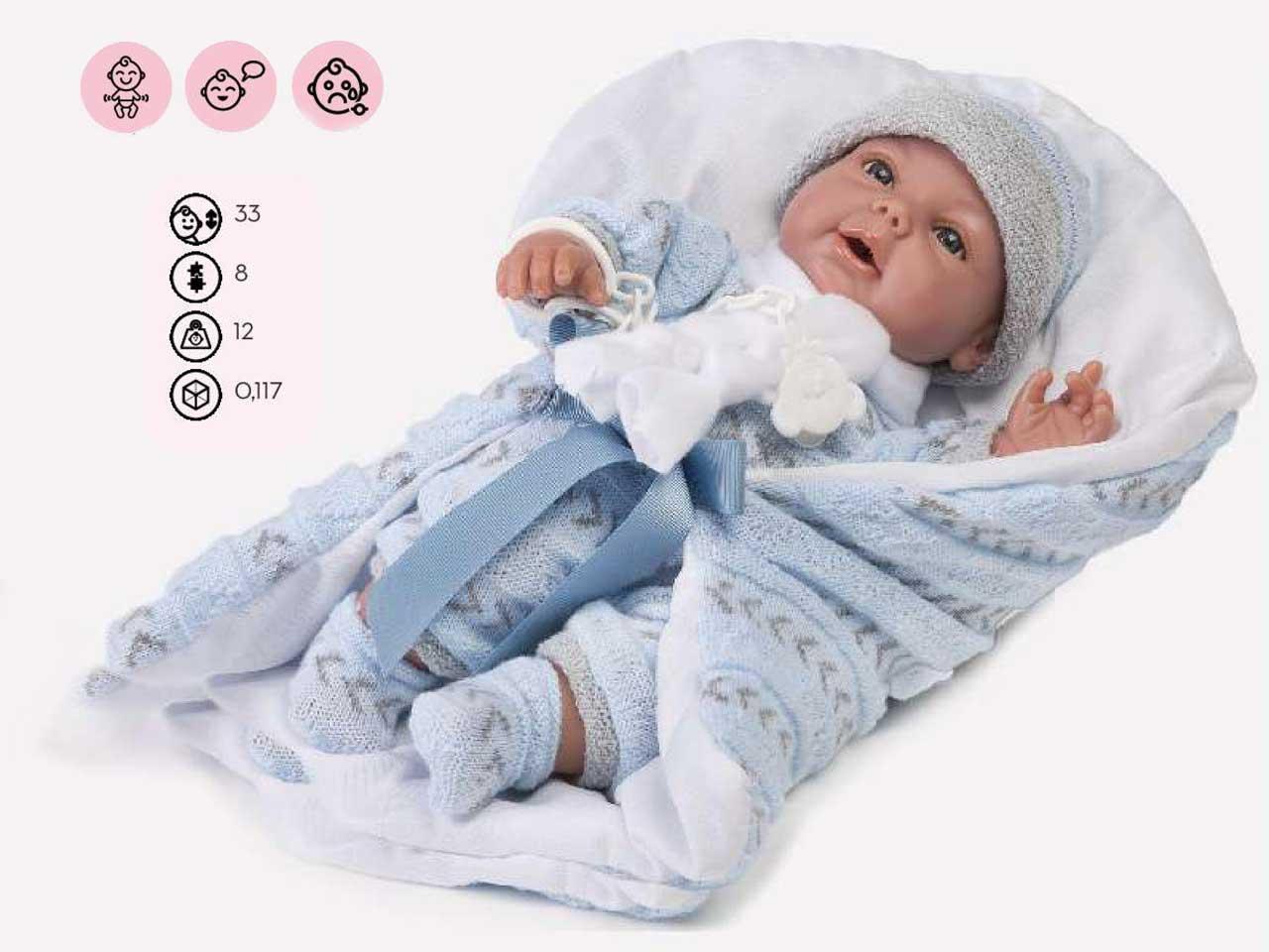 NEONATO ARTICOLATO CARLA PORT ENFANT AZZUURO 33 CM C/VOCE SCA.SI