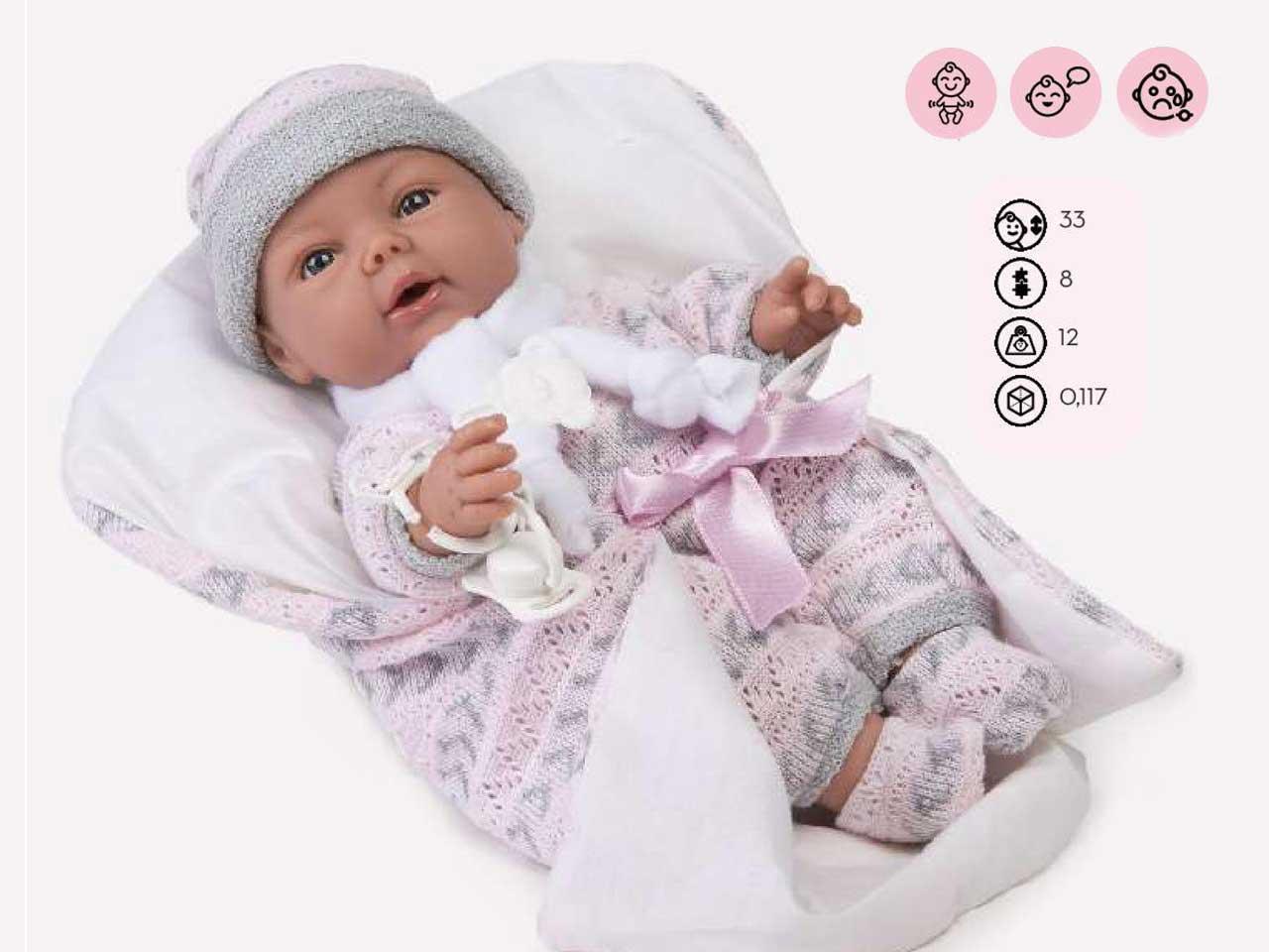 NEONATO ARTICOLATO CARLA PORT ENFANT ROSA 33 CM C/VOCE SCAT.SING