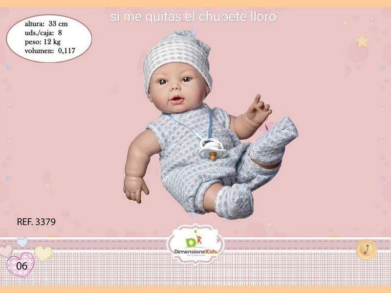 BAMBOLA CARLA BEBÉ GRIGIO 33 CMS. CON VOCE C/IND