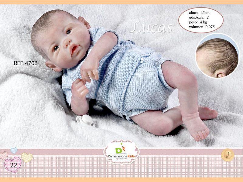 BAMBOLA LUCAS CON PELO BODY AZZURRO 46 CMS 1.600 GRS C/IN