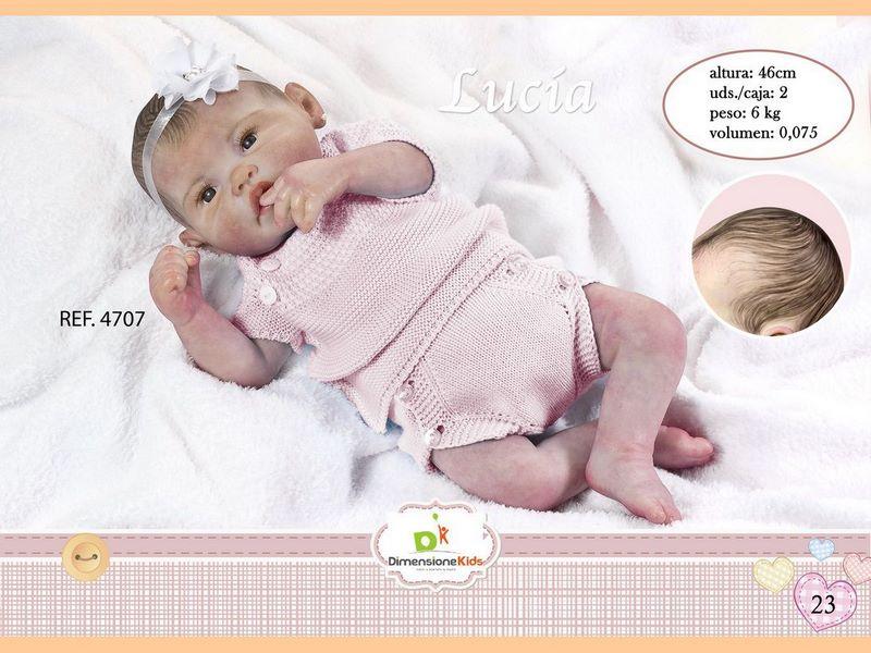 BAMBOLA LUCÍA CON PELO BODY ROSA 46 CMS 1.600 GRS C/IN