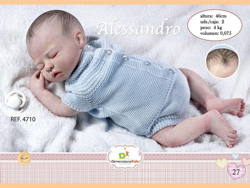 BAMBOLA ALESSANDRO DORME CON BODY AZZURRO 46 CMS 1.600 C/I