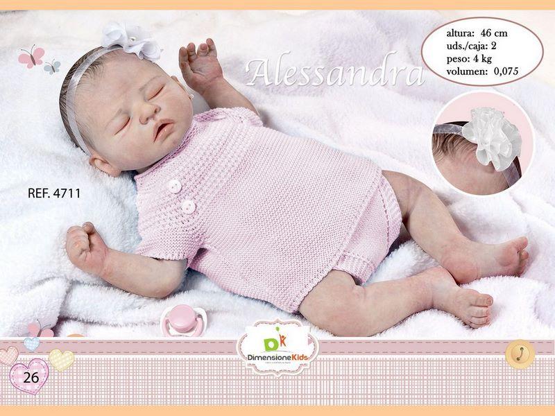 BAMBOLA ALESSANDRA DORME CON TUTINA ROSA 46 CMS 1.600 C/I