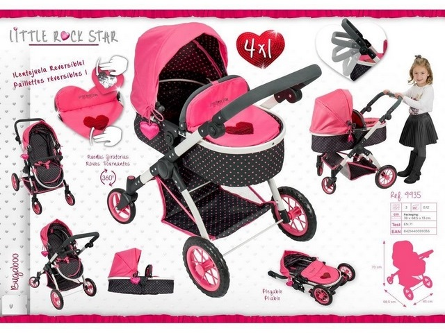 PASSEGGINO PIEGHEVOLE DOLL PRAM 4 IN 1 LITTLE ROCK STAR