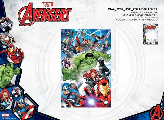 COPERTA IN PILE 100X150 CM 100% POLIESTERE POLYBAG AVENGERS