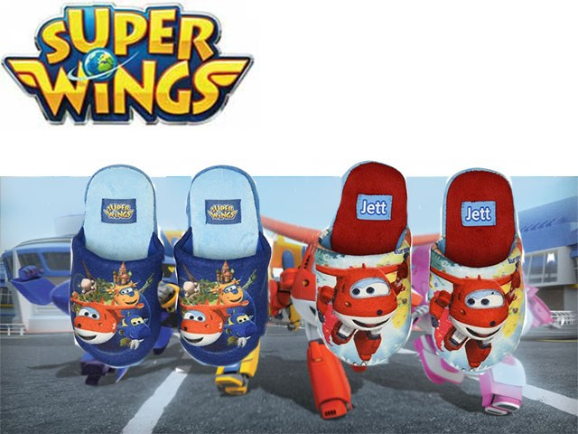 PANTOFOLE 100% POLYESTER (2 COLORI TG.25/32) SUPER WINGS