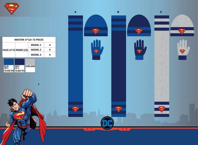SET 3 PCS SCIARPA-CAPPELLO-GUANTI TG 52/54 ASS SUPERMAN