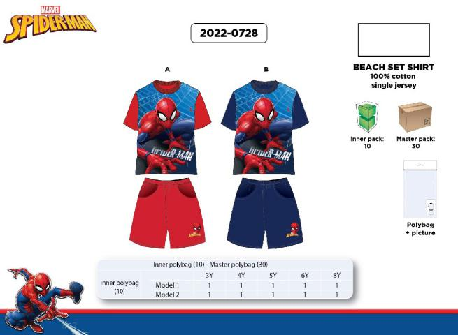BEACH SET 100% COTON JERSEY TG 3/8 ANNI SPIDERMAN