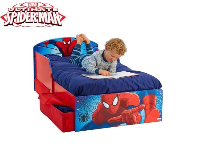 Lettino per bambini con contenitore sottoletto SPIDERMAN